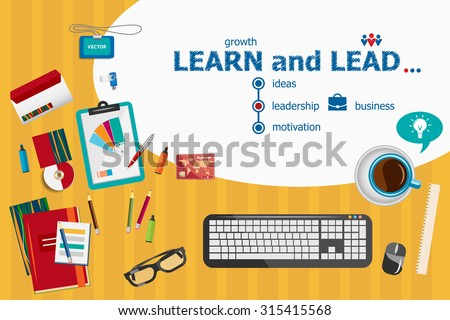 learn and lead and flat design