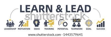 learn and lead concept web banner with icons and keywords