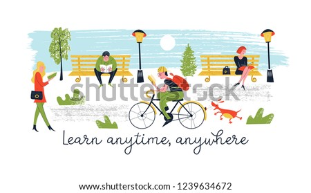 Learn anytime anywhere. A set of vector characters, men and women who read books and textbooks in different places. In the Park, walking the dog, Cycling, public transport people are reading and learn