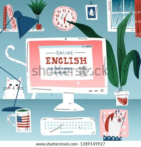 Learn english online education language. Workplace, desktop computer.