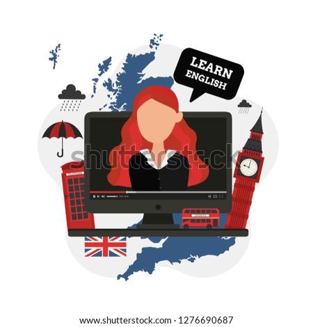 Learn English Online. Language  school. Modern design concept of web page design. United Kingdom. London. English culture. Vector illustration. Tourism, Traveling. Content. Video blog. ストックフォト ©