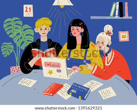 Learn English. Students studying with books. Group of people in classroom.