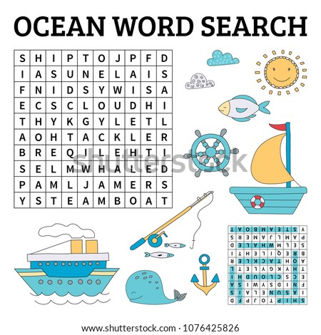 Learn English with an ocean word search game for kids. Vector illustration. Foto stock ©