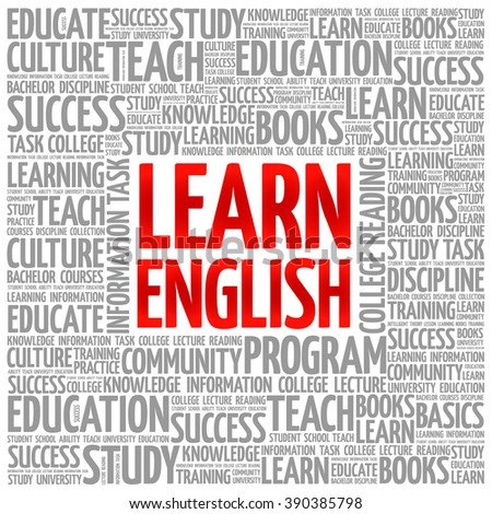 Learn English word cloud, education concept background