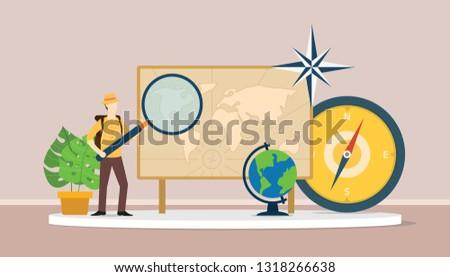 learn geography concept with men explorer suit explain world maps - vector illustration