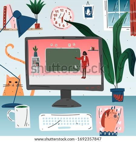 Learn online online education. Workplace, desktop computer