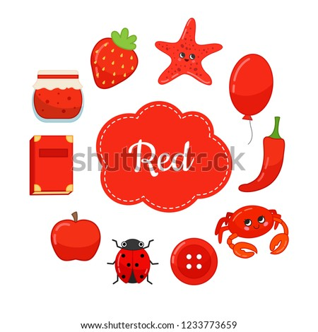 Learn the primary colors. Red. Different objects in red color. Educational material for children and toddlers.