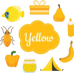 Learn the primary colors. Yellow. Different objects in yellow color. Educational material for children and toddlers.