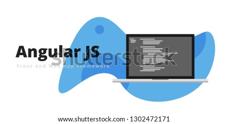 Learn to code Angular JS Fron-end web app framework, with script code on laptop screen, programming language code illustration - Vector Stockfoto ©