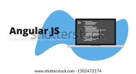 Learn to code Angular JS Fron-end web app framework, with script code on laptop screen, programming language code illustration - Vector