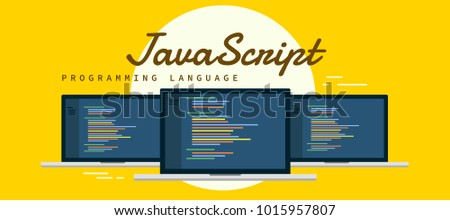Learn to code Javascript Programming language, laptop with syntax code in screen with yellow background flat vector illustration