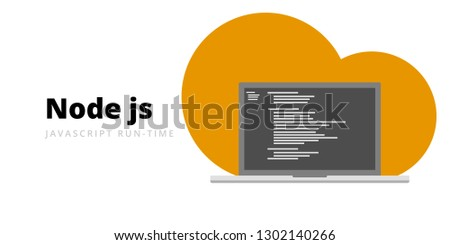 Learn to code Node JS Javascript run-time programming language with script code on laptop screen, programming language code illustration - Vector