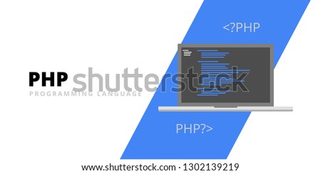 Learn to code PHP web programming language with script code on laptop screen, programming language code illustration - Vector