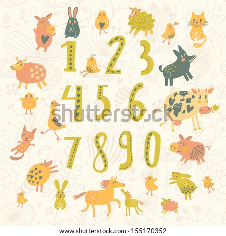 Learn to count All numbers and funny cartoon animals cat dog cow horse rabbit and others in childish style