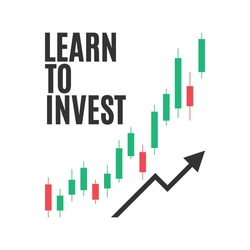 Learn To Invest, Stock Market Vector, Investment Broker, Investing Stocks, Stock Guide, Stock Education, Wall Street Graphic, Stock Brokerage, Forex Trading, Crypto Currency Vector Illustration