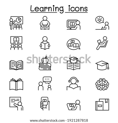 Learning and Education icon set in thin line style