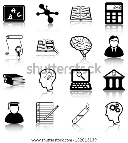 Learning and knowledge related icons/ silhouettes.