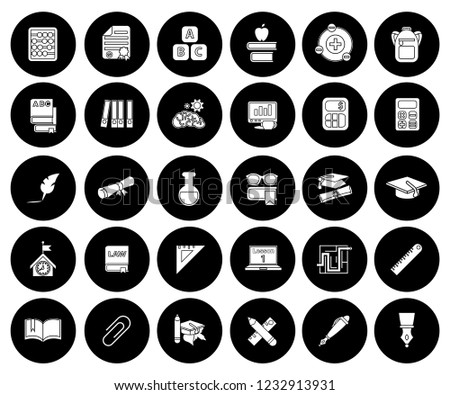 learning and School education icons set - university graduation sign and symbols