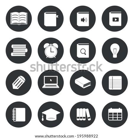 Learning education circle icons set