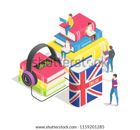 Learning foreign languages isometric concept. People and english french dictionary, textbooks study. Studying spanish german in language school online. Education textbook vector background