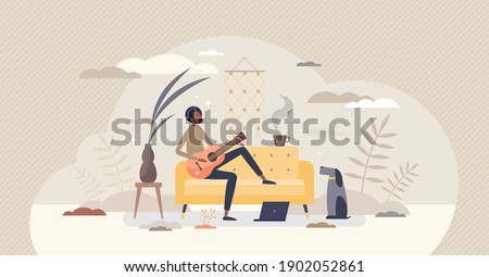 Learning guitar chords and tabs as practice or lesson tiny person concept. Study acoustic or classical instrument for entertainment or hobby vector illustration. Distant home training using computer. Photo stock ©