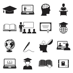 Learning Icons. Online education icon. isolated on white for graphic and web design vector illustration,