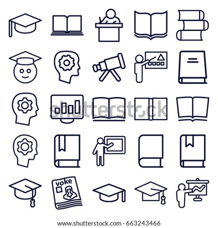 Learning icons set. set of 25 learning outline icons such as book, graduation cap, gear in head, magazine, graduate emoji, graduation hat, teacher, telescope, arrows up