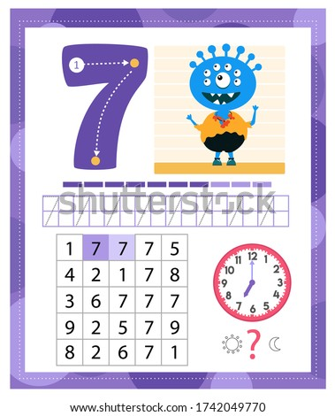 learning number 7 with funny