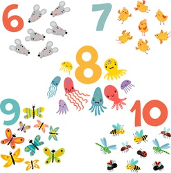 learning numbers. part 2. animals and numbers for children