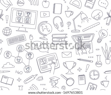 Learning online, e-learning video call chat with class. Laptop, notebook, remote learning- ideal home workplace. Vector illustration doodles, thin line art sketch style concept