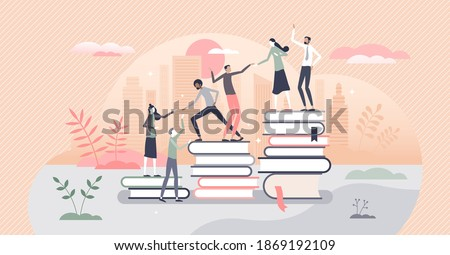 Learning progress as horizon expansion from book reading tiny person concept. Knowledge gain with academic studying and cognitive academic research vector illustration. Smart people common support.