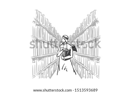 Learning, self-education concept sketch. Hand drawn isolated vector