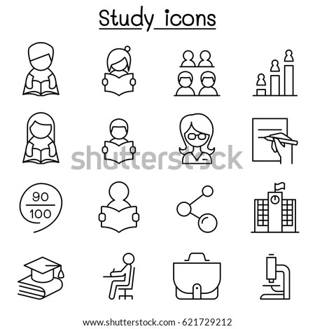 Learning , Study & Education icon set in thin line style