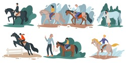 Learning to ride horse, professional jockey or amateurs. Ranch with animals and visitors. Mom and son sitting horseback. Summer activities and equestrian hobbies at countryside, vector in flat style
