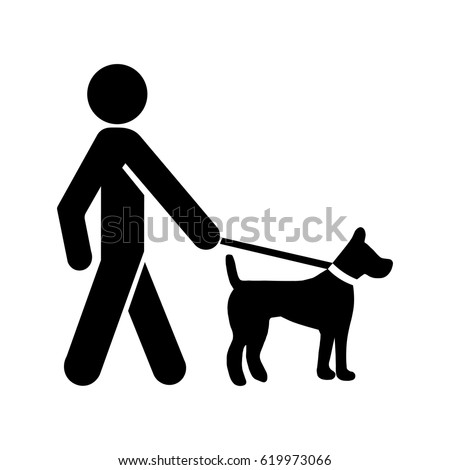 leashed dogs icon  a man