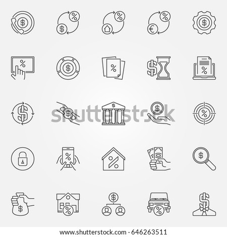 Leasing and loan icons set. Vector collection of banking and financial symbols or design elements in thin line style