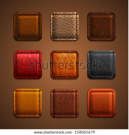 leather app icons set   eps10