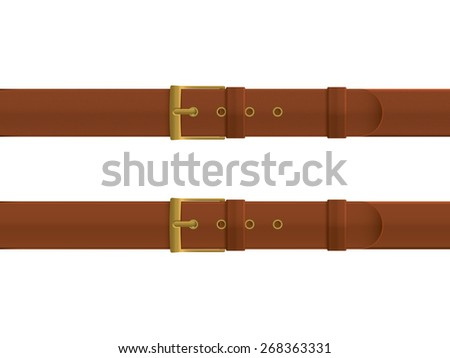 Leather belts with texture and without texture, brown color