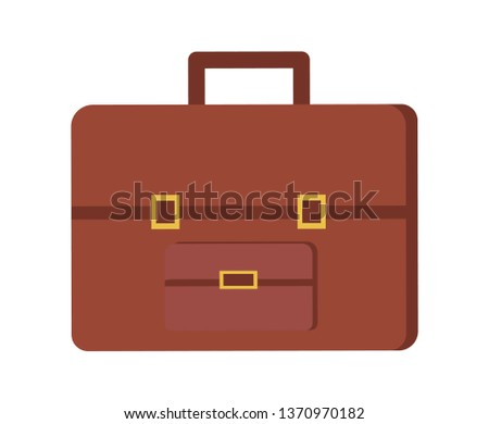 Leather briefcase, vector brown case with clasp isolated icon. Business luggage icon, portfolio sign, elegant personal retro valise with handle
