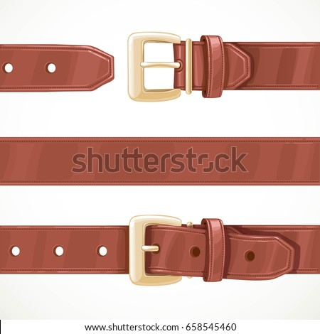 Leather brown belt buttoned, unbuttoned and seamless middle part isolated on a white background