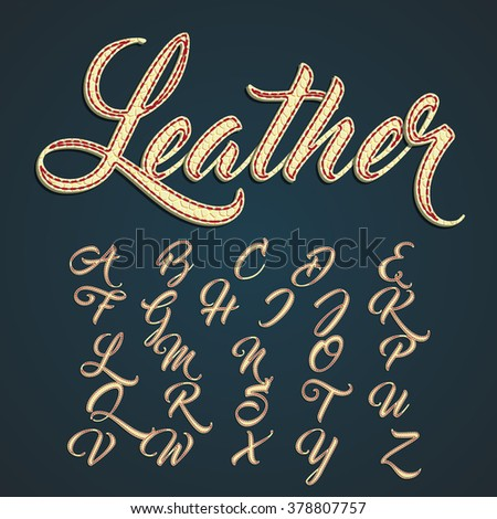 Leather capitals and characters made by leather, vector illustration
