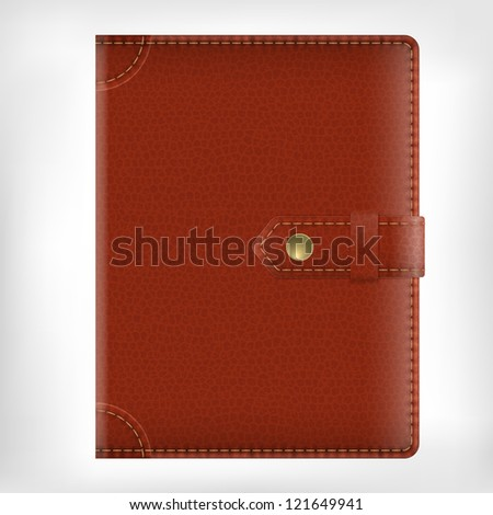 Leather diary book cover isolate on white background