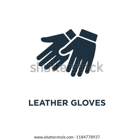 Leather gloves icon. Black filled vector illustration. Leather gloves symbol on white background. Can be used in web and mobile.