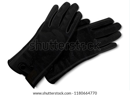 Leather gloves icon. Realistic illustration of leather gloves vector icon for web design isolated on white background