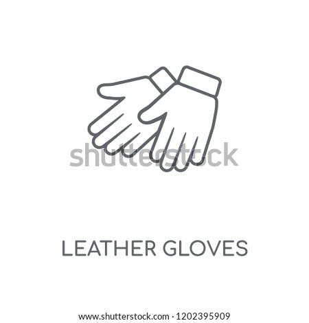 Leather gloves linear icon. Leather gloves concept stroke symbol design. Thin graphic elements vector illustration, outline pattern on a white background, eps 10.