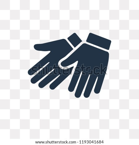 Leather gloves vector icon isolated on transparent background, Leather gloves transparency concept can be used web and mobile
