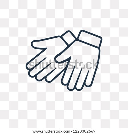 Leather gloves vector outline icon isolated on transparent background, high quality linear Leather gloves can be used web and mobile
