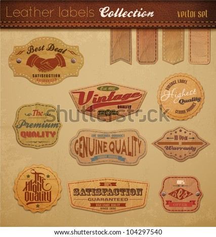 Leather Labels Collection. Vector Illustration. - stock vector