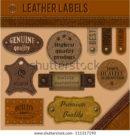 leather labels set collection
