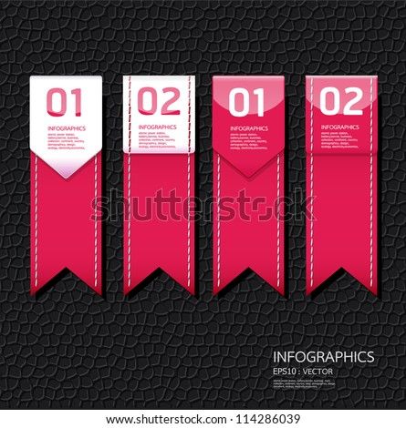 Leather pink color Design template / can be used for infographics / numbered banners / horizontal cutout lines / graphic or website layout vector